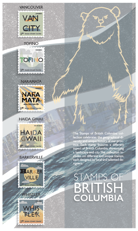BC cities stamp designs