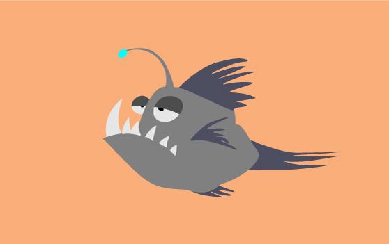ugly fish cartoon illustration