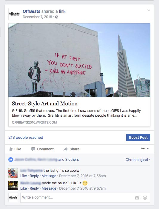 Facebook graffiti post image