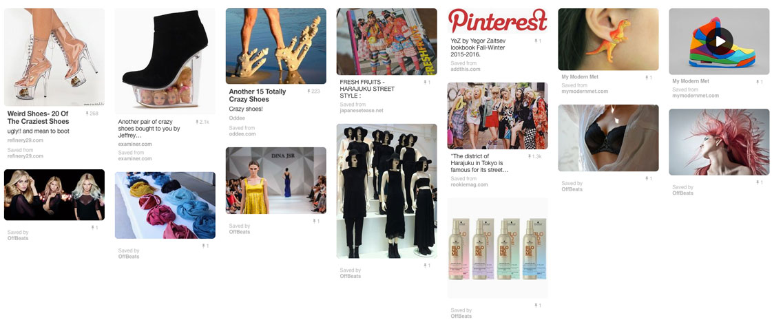 Pinterest image board